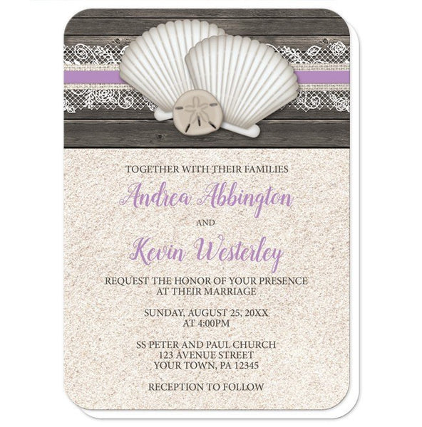 Wedding Invitations - Seashell Lace Wood and Sand Purple Beach - rounded corners