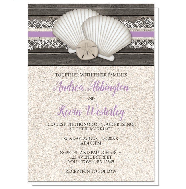 Seashell Lace Wood and Sand Purple Beach Wedding Invitations at  Artistically Invited