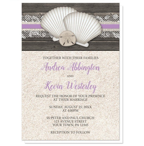 Wedding Invitations - Seashell Lace Wood and Sand Purple Beach