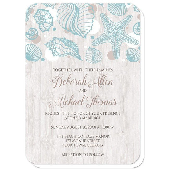 Seashell Whitewashed Wood Beach Wedding Invitations - Artistically Invited