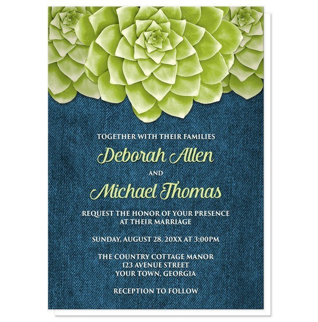 Succulent Green Blue Denim Wedding Invitations - Artistically Invited