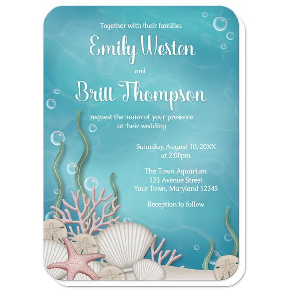 Whimsical Under the Sea Wedding Invitations - rounded corners