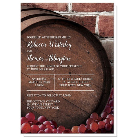 Rustic Wine Barrel Vineyard Wedding Invitations - Artistically Invited