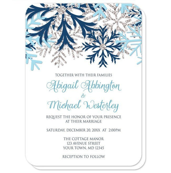 Winter Blue Silver Snowflake Wedding Invitations - rounded corners