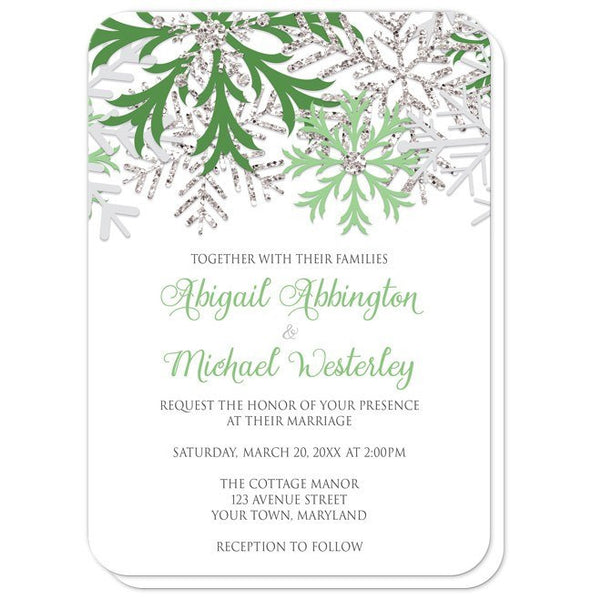 Wedding Invitations - Winter Snowflake Green Silver - rounded corners