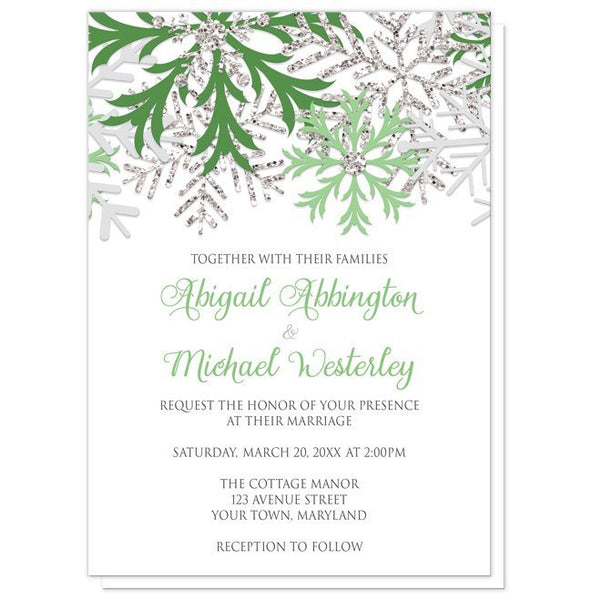 Wedding Invitations - Winter Snowflake Green Silver