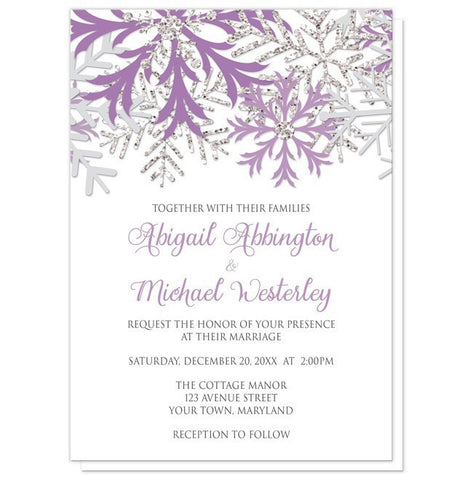 Winter Snowflake Purple Silver Wedding Invitations - Artistically Invited