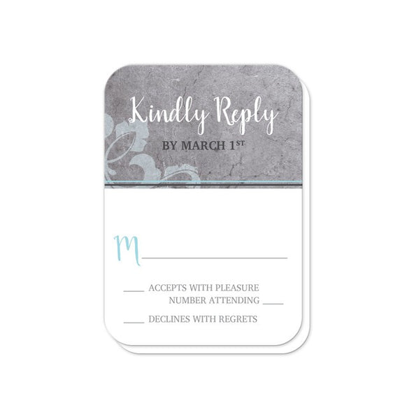 Wedding RSVP - Industrial Aqua Gray Flourish - rounded corners