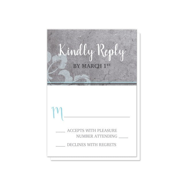 Industrial Aqua Gray Flourish Wedding Invitations at  Artistically Invited