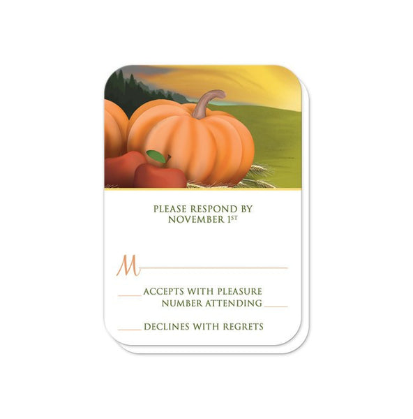 Country Autumn Harvest Wedding RSVP cards - rounded corners