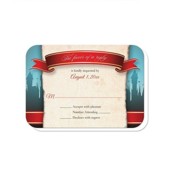 Wedding RSVP - Fairytale Castle Red Once Upon a Time - rounded corners