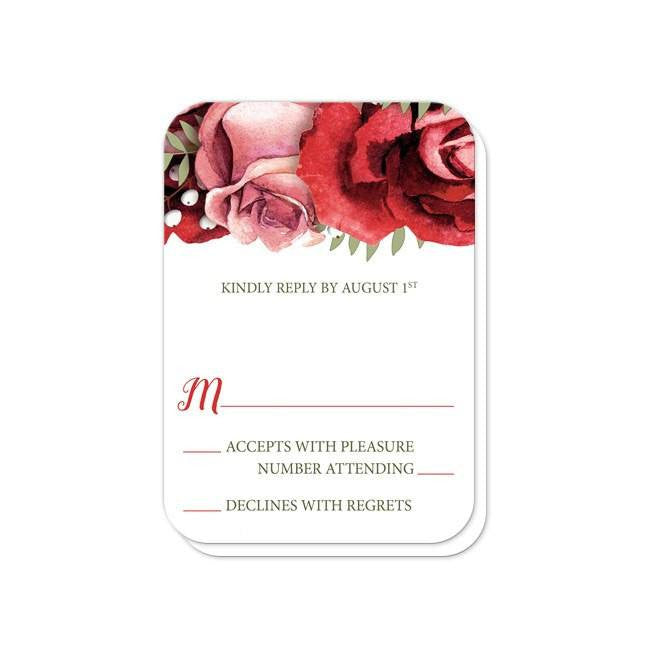 Red And Pink Wedding Invitations: Rustic Red Pink Rose Green White Wedding Invitations At