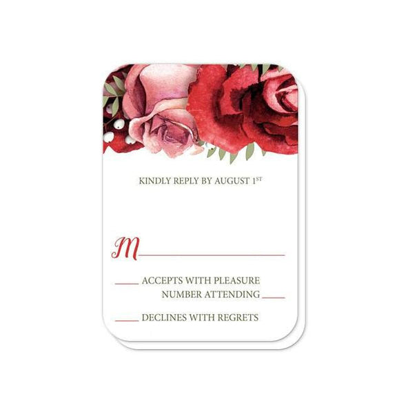 Wedding RSVP - Rustic Red Pink Rose Green White - rounded corners