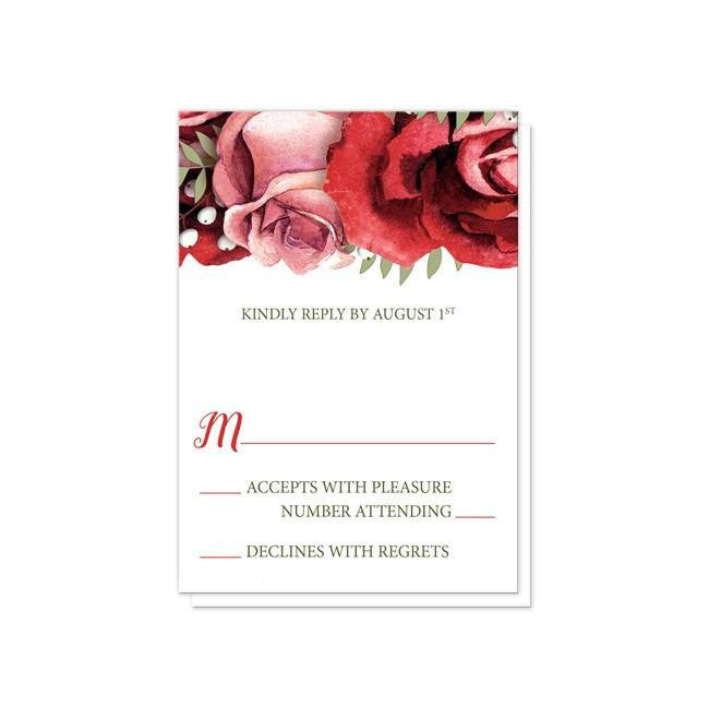 Red And Pink Wedding Invitations: Rustic Red Pink Rose Green White Wedding Invitations