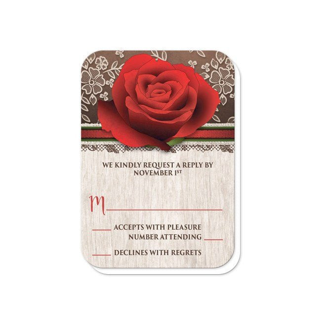 Rustic Wood Lace Red Rose Wedding Invitations at  Artistically Invited
