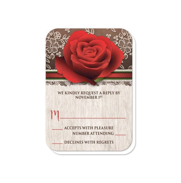 Wedding RSVP - Rustic Wood Lace Red Rose - rounded corners