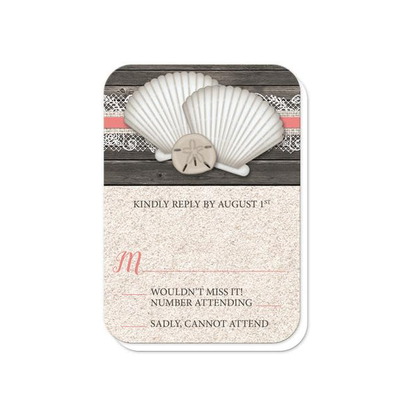 Seashell Lace Wood and Sand Coral Beach Wedding RSVP - rounded corners