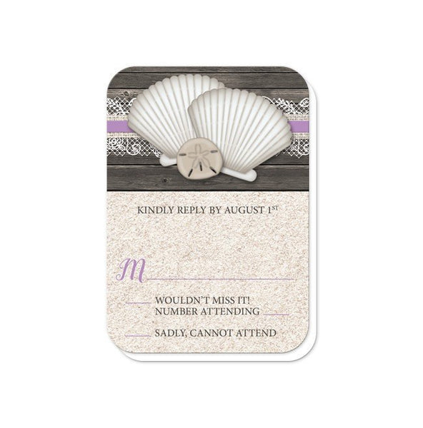 Wedding RSVP - Seashell Lace Wood and Sand Purple Beach - rounded corners