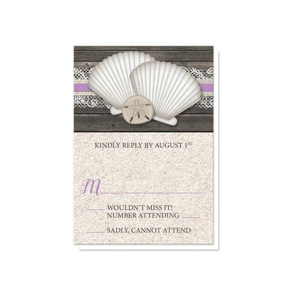 Wedding RSVP - Seashell Lace Wood and Sand Purple Beach