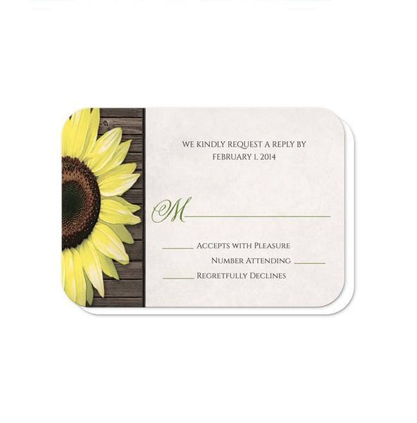 Wedding RSVP - Rustic Sunflower Burlap & Lace Tin Can - rounded corners