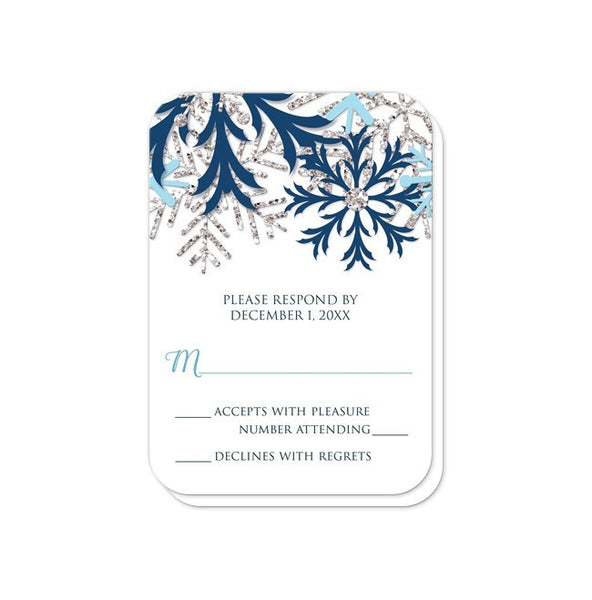 Winter Blue Silver Snowflake Wedding RSVP - rounded corners