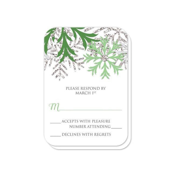 Wedding RSVP - Winter Snowflake Green Silver - rounded corners