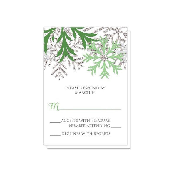 Wedding RSVP - Winter Snowflake Green Silver