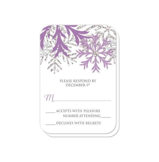 Winter snowflake purple silver wedding invitations online at winter snowflake purple silver wedding invitations artistically invited junglespirit Image collections