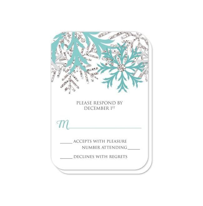 Winter Snowflake Teal Silver Wedding Invitations at  Artistically Invited