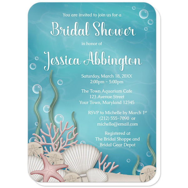 Whimsical Under the Sea Bridal Shower Invitations (rounded corners) at Artistically Invited