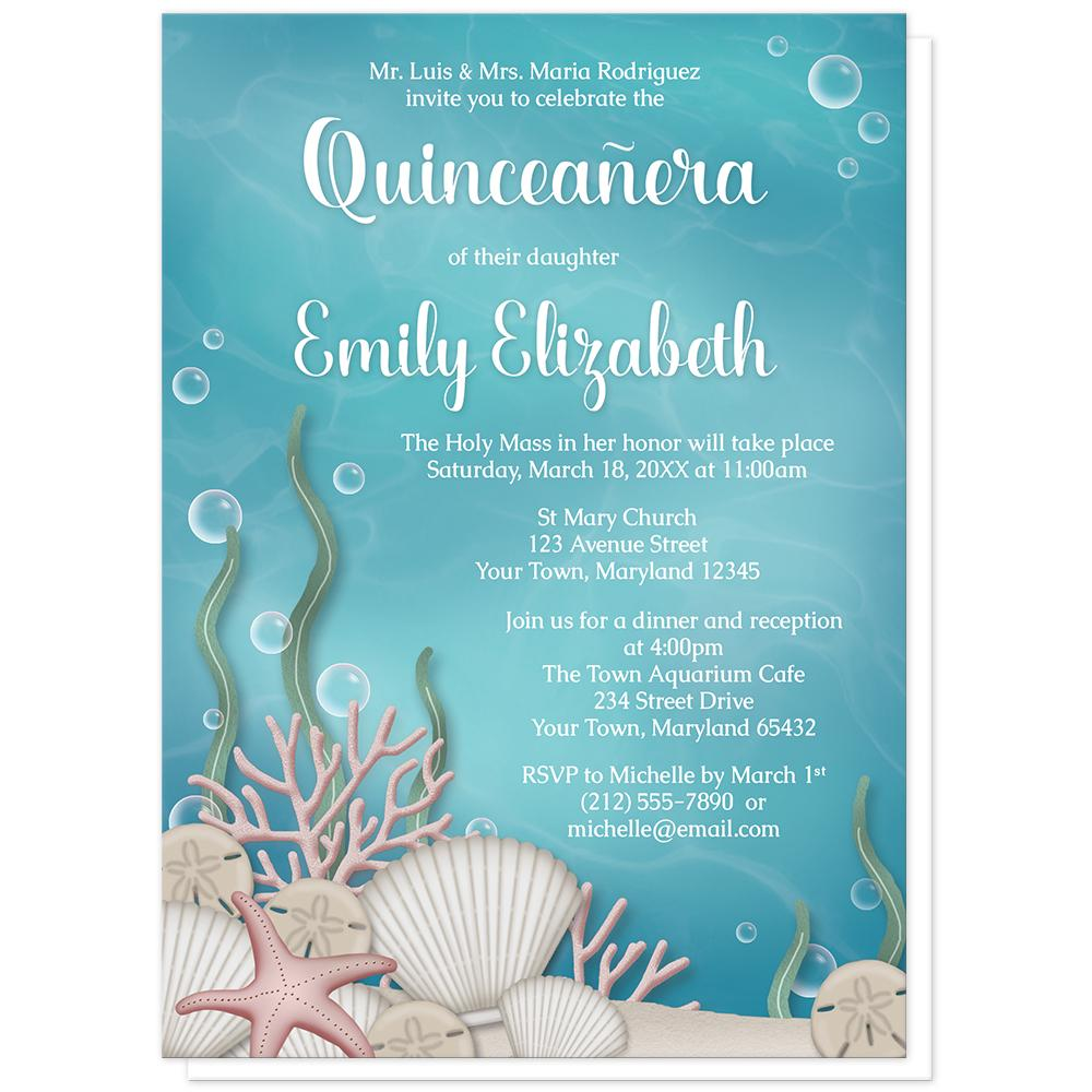 whimsical under the sea quinceañera invitations online at