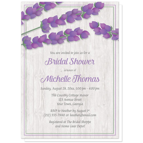 Lavender Bridal Shower Invitations - Whitewashed Wood Lavender Bridal Shower Invitations at Artistically Invited