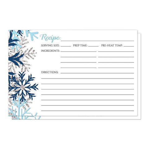 Winter Blue Silver Snowflake Recipe Cards at Artistically Invited