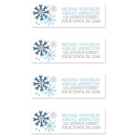 Winter Blue Silver Snowflake Address Labels at Artistically Invited