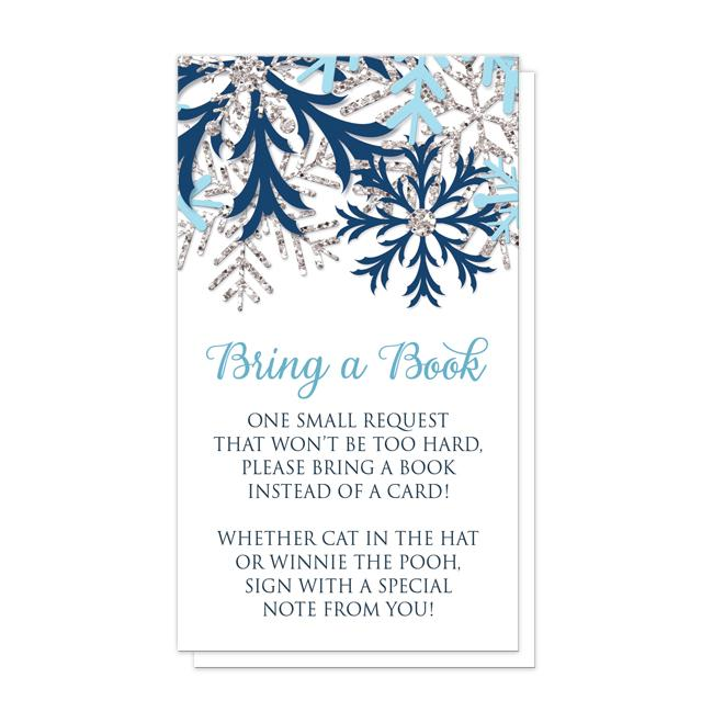 Winter Blue Silver Snowflake Bring a Book Cards at Artistically Invited