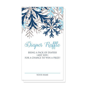 Winter Blue Silver Snowflake Diaper Raffle Cards