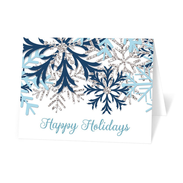 Winter Blue Silver Snowflake Holiday Cards at Artistically Invited