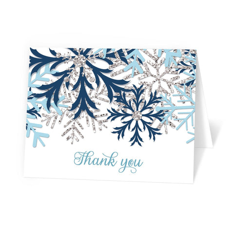 Winter Blue Silver Snowflake Thank You Cards at Artistically Invited