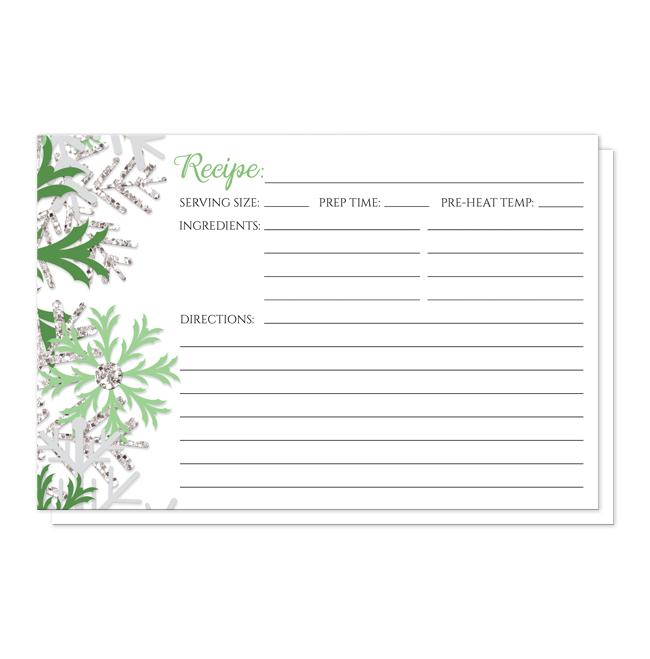 Winter Green Silver Snowflake Recipe Cards