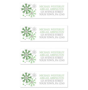 Winter Green Silver Snowflake Address Labels