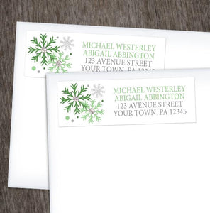 Winter Green Silver Snowflake Address Labels at Artistically Invited
