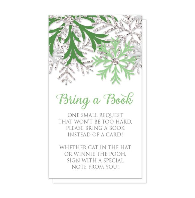 "Winter Green Silver Snowflake ""Bring a Book"" Cards"