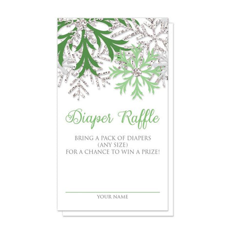 Winter Green Silver Snowflake Diaper Raffle Cards