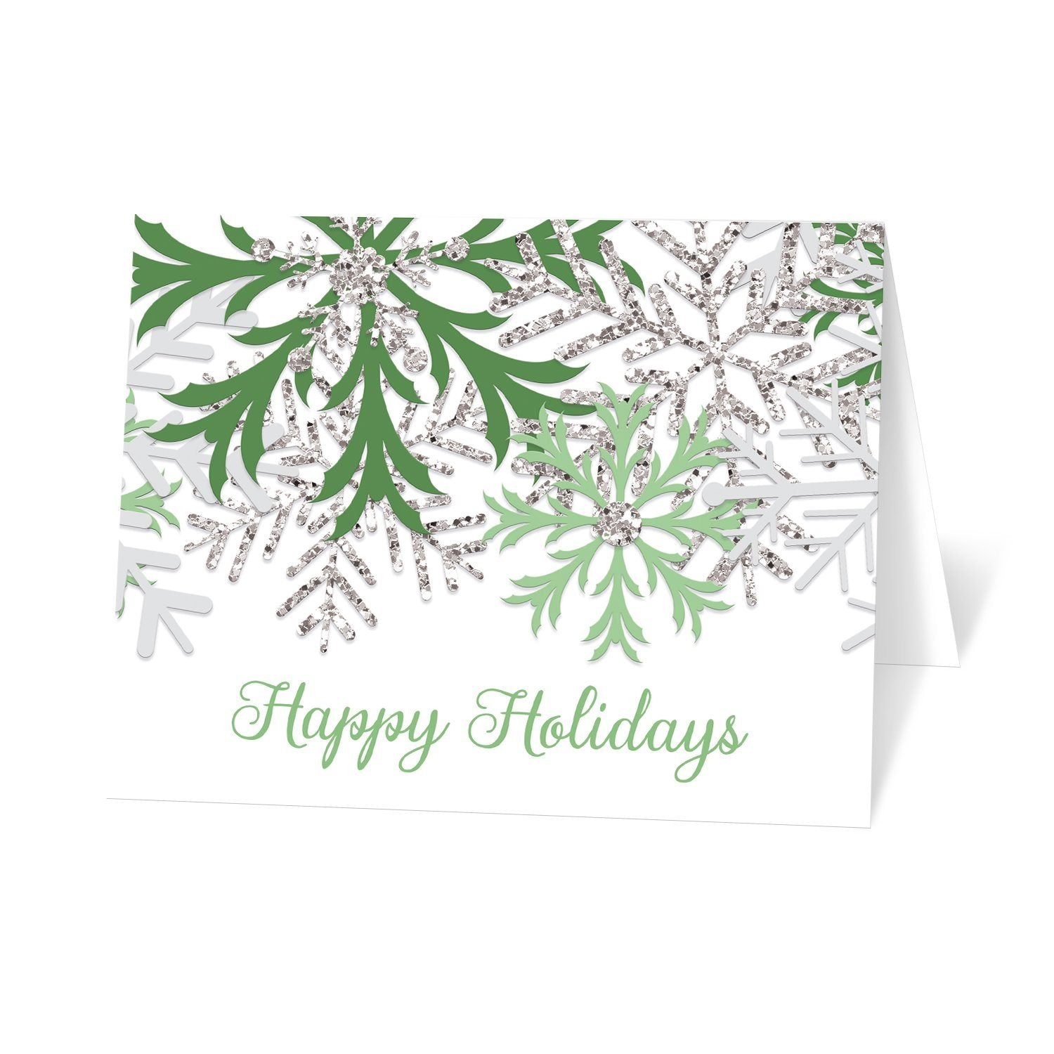 Winter Green Silver Snowflake Holiday Cards at Artistically Invited