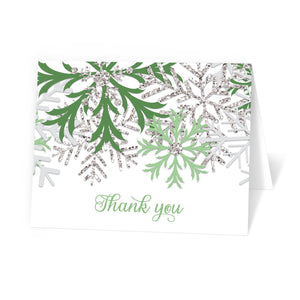 Winter Green Silver Snowflake Thank You Cards at Artistically Invited