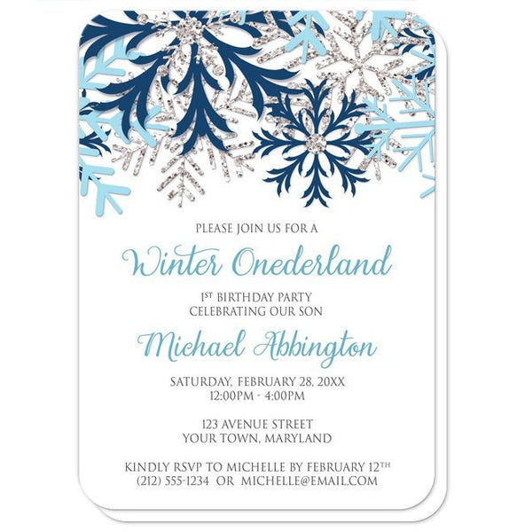 Winter Onederland Invitations - Blue Silver Snowflake 1st Birthday - rounded corners
