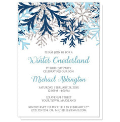 Winter Onederland Invitations - Blue Silver Snowflake 1st Birthday
