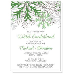 Winter Onederland Invitations - Green Silver Snowflake 1st Birthday
