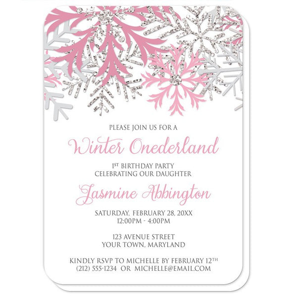 Winter Onederland Invitations - Pink Silver Snowflake 1st Birthday - rounded corners