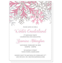 Winter Onederland Invitations - Pink Silver Snowflake 1st Birthday